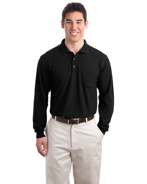 Port Authority K500LSP Mens Silk Touch Long Sleeve Polo Sport Shirt with Pocket Black at bigntallapparel