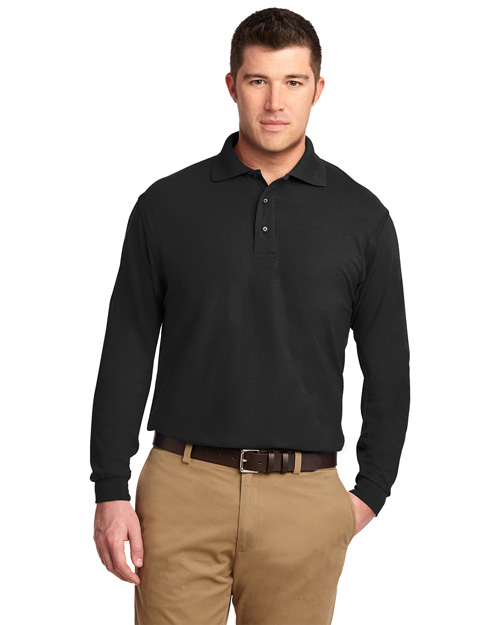 Port Authority K500LS Mens Silk Touch Long Sleeve Polo Sport Shirt Black at bigntallapparel