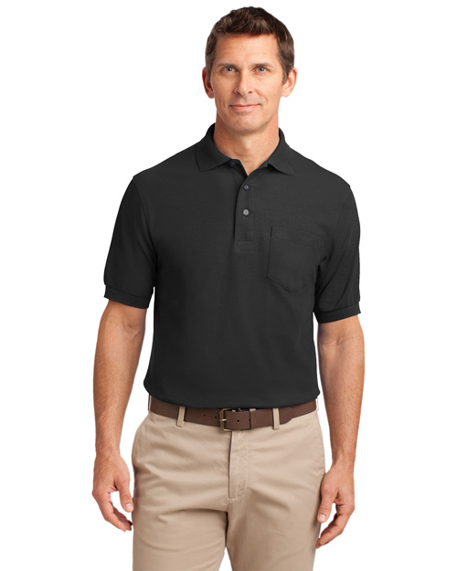 Port Authority K500P Mens Silk Touch Pique Knit Polo Sport Shirt with Pocket Black at bigntallapparel