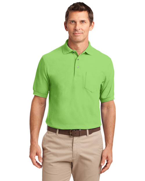 Port Authority K500P Men Silk Touch Pique Knit Polo Sport Shirt With Pocket Lime at bigntallapparel