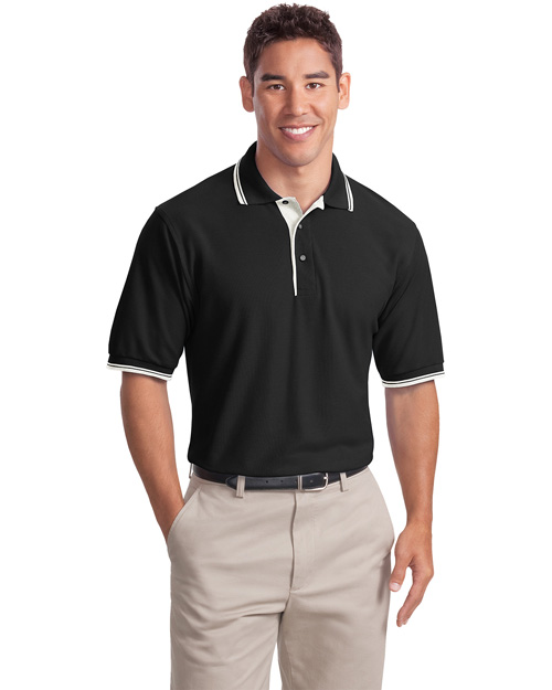 Port Authority K501 Men Silk Touch Polo Sport Shirt With Stripe Trim Black/ Winter White at bigntallapparel