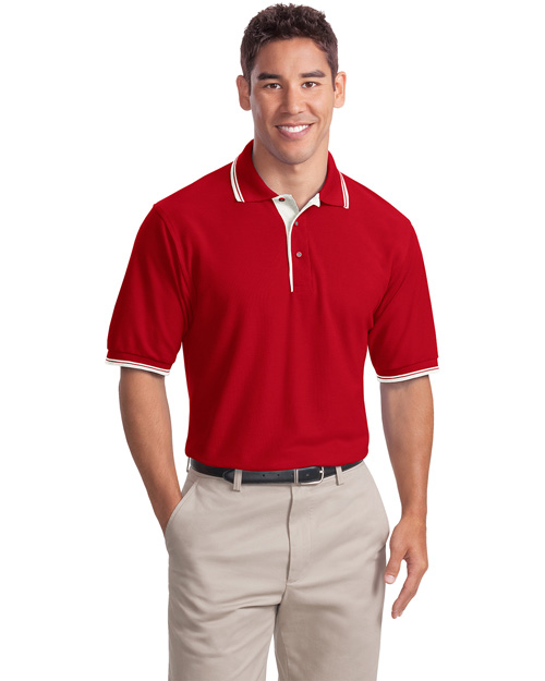 Port Authority K501 Mens Silk Touch Polo Sport Shirt with Stripe Trim Red/Winter White at bigntallapparel
