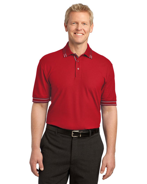 Port Authority K502 Men Silk Touch Tipped Polo Red/Steel Grey at bigntallapparel