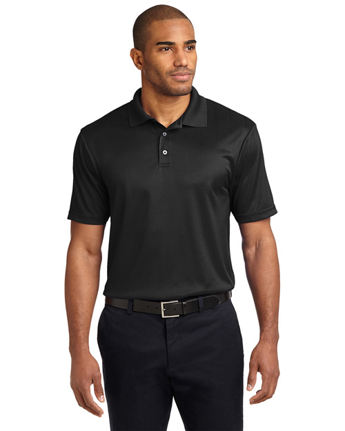 Port Authority K528 Mens Performance Fine Jacquard Sport Shirt Black at bigntallapparel