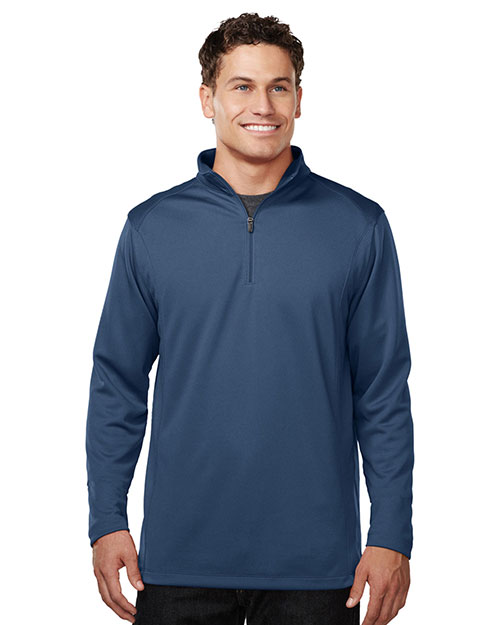 Tri-Mountain K628 Men 100% Polyester 1/4 Zip Pullover W/Tmp Puller Atlantic at bigntallapparel