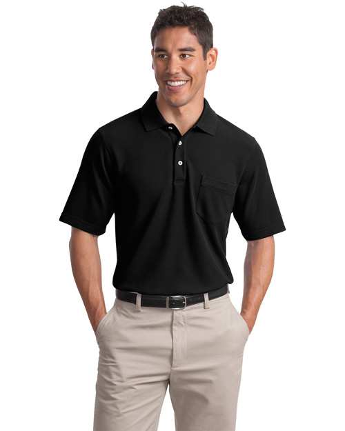 Port Authority Signature K800P Mens EZ Cotton Pique Pocket Sport Shirt Black at bigntallapparel