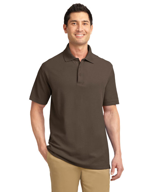 Port Authority K800 Mens EZ Cotton Pique Sport Shirt Brown at bigntallapparel