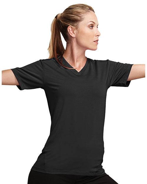 Womens 85 polyester 15 spandex v neck t shirt for Womens tall v neck t shirts