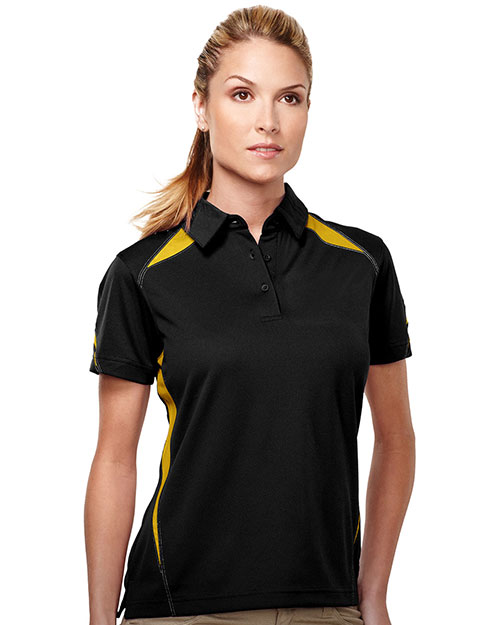 Tri-Mountain KL119 Womens 100% Polyester Birdeye w/UC 3 buttom Polo BLACK/GOLD at bigntallapparel