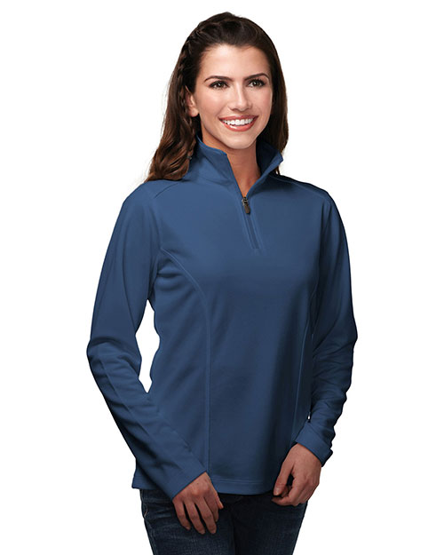 Tri-Mountain KL628 Women 100% Polyester Knit 1/4 Zip Pullover W/Tmp Puller Atlantic at bigntallapparel