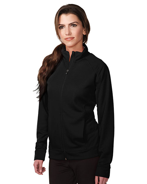 Tri-Mountain KL630 Women's 100% Polyester Knit Full zip Jacket BLACK at bigntallapparel