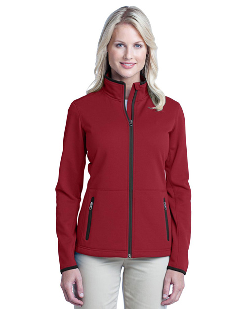 Port Authority L222 Women Pique Fleece Jacket Garnet Red at bigntallapparel