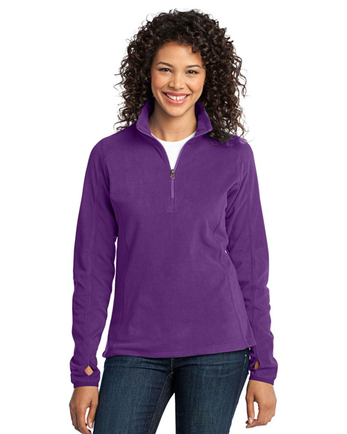 Port Authority L224 Ladies Microfleece 1/2-Zip Pullover.  Amethyst Purple at bigntallapparel