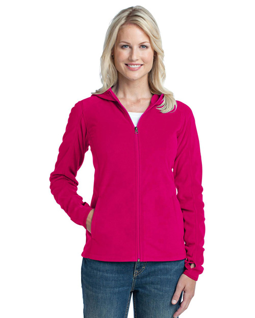 Port Authority L225 Ladies Microfleece Hoodie.  Dark Fuchsia at bigntallapparel