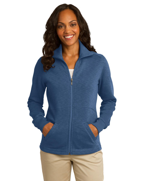 Port Authority L293 ® Ladies Slub Fleece Full-Zip Jacket.  Twilight Blue at bigntallapparel