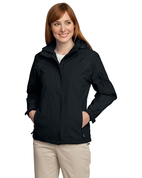 Port Authority L304 Ladies All-Season II Jacket.  Black/Black at bigntallapparel