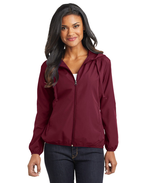Port Authority L305 Ladies Hooded Essential Jacket.  Claret Red at bigntallapparel