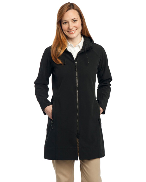 Port Authority L306 Women Long Textured Hooded Soft Shell Jacket Black at bigntallapparel