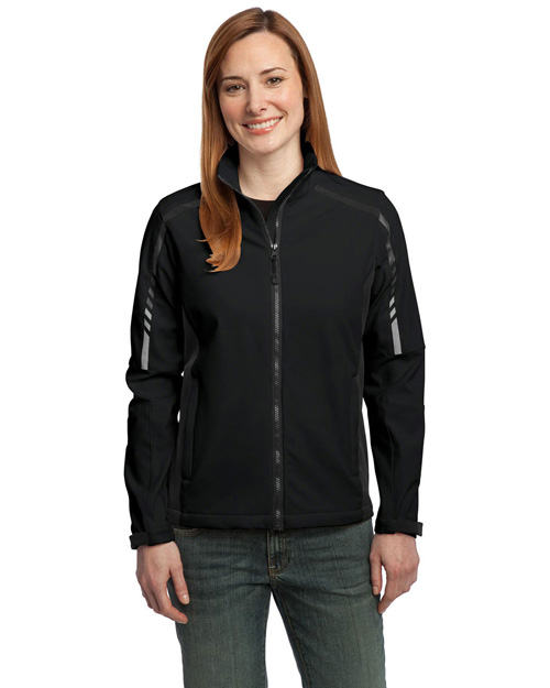 Port Authority L307 Women Embark Soft Shell Jacket Black/Deep Grey at bigntallapparel