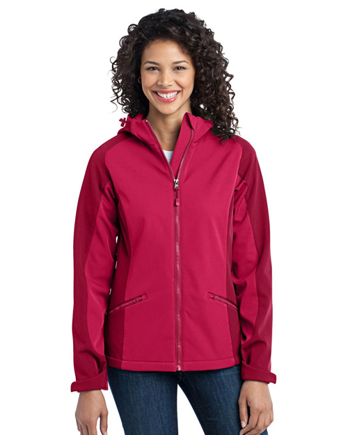 Port Authority L312 Ladies Gradient Hooded Soft Shell Jacket.  Dark Fuchsia/Loganberry at bigntallapparel