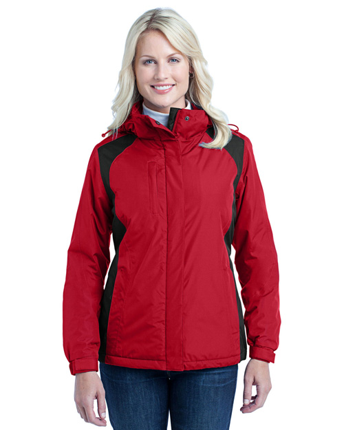 Port Authority L315 Women Barrier Jacket Black Red/Black at bigntallapparel