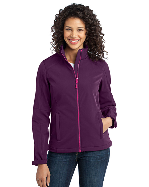 Port Authority L316 Ladies Traverse Soft Shell Jacket.  Deep Purple/Pink Orchid at bigntallapparel