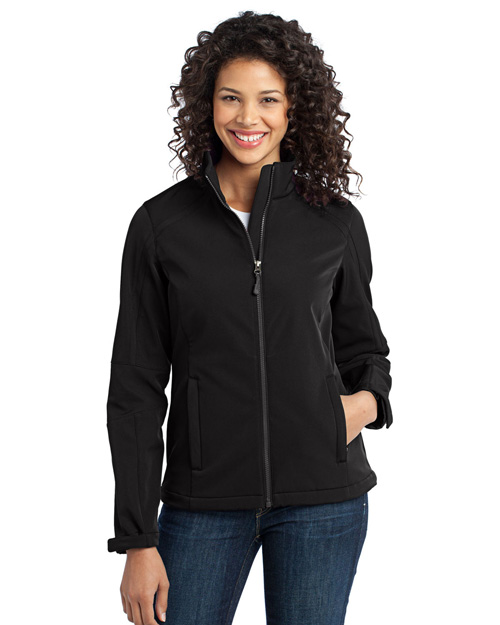 Port Authority L316 Ladies Traverse Soft Shell Jacket.  Black/Deep Grey at bigntallapparel