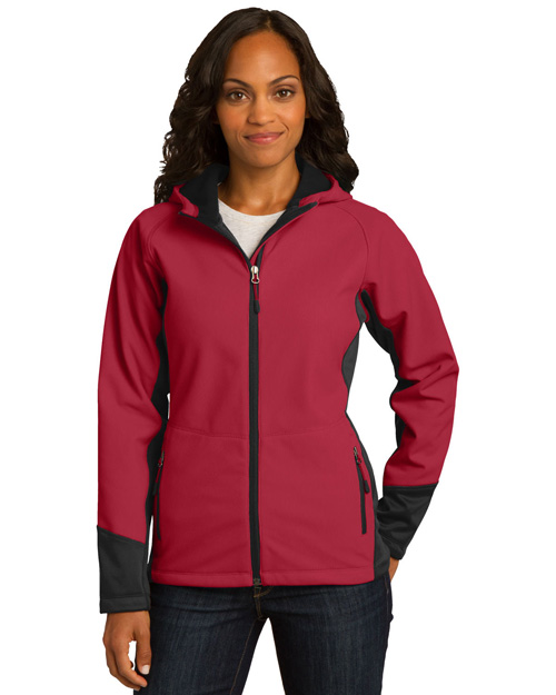 Port Authority L319 ® Ladies Vertical Hooded Soft Shell Jacket.  Rich Red/Black at bigntallapparel