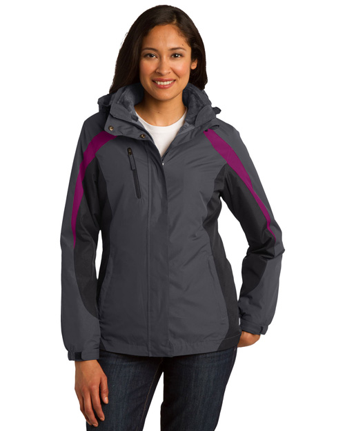 Port Authority L321 Women Colorblock 3in1 Jacket Mag Gy/Blk/Bry at bigntallapparel