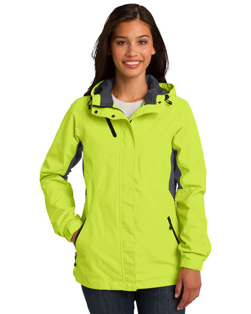 Port Authority L322 ® Ladies Cascade Waterproof Jacket.  Chg Grn/Mag Gy at bigntallapparel