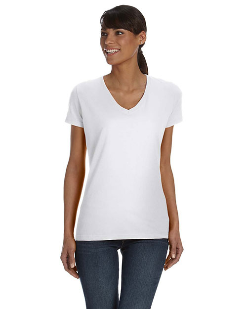 Fruit of the Loom L39VR Ladies' 5 oz., 100% Heavy Cotton HD® V-Neck T-Shirt WHITE at bigntallapparel
