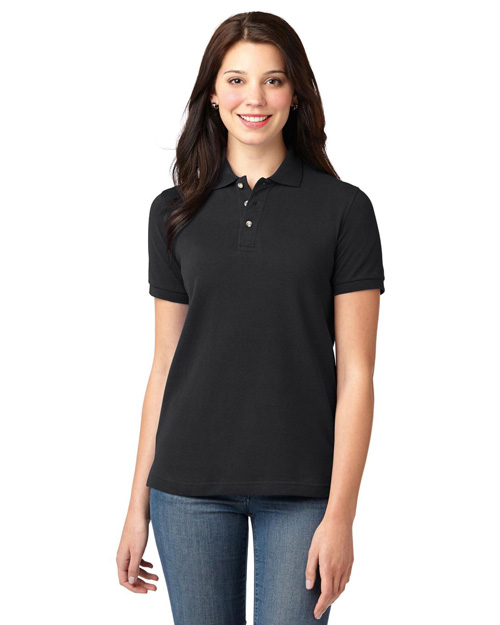 Port Authority L420 Ladies Pique Knit Polo.   Black at bigntallapparel