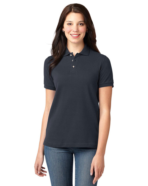 Port Authority L420 Ladies Pique Knit Polo.   Classic Navy at bigntallapparel