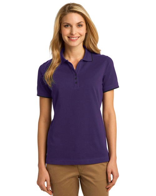 Port Authority L454 ® Ladies Rapid Dry? Tipped Polo.   Br Purp/Cl Nvy at bigntallapparel