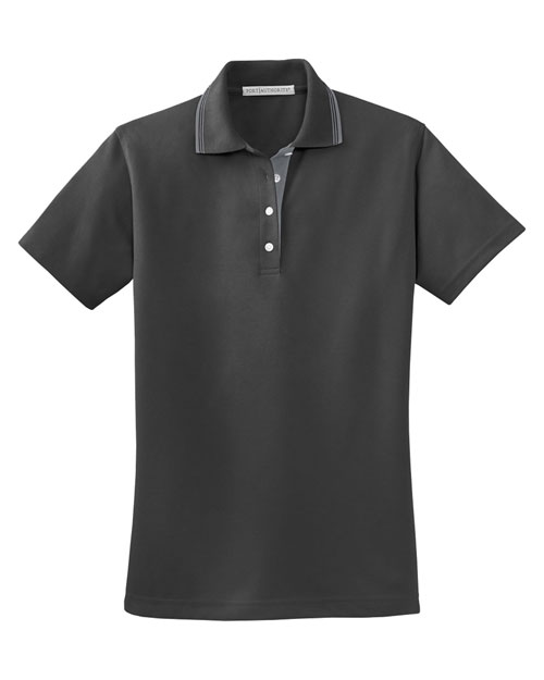 Port Authority L456 Ladies Rapid Dry™ Polo with Contrast Trim.   Charcoal/Steel Grey at bigntallapparel