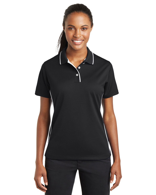 Sport-Tek L467 Ladies Dri-Mesh Polo with Tipped Collar and Piping.   Black/White at bigntallapparel