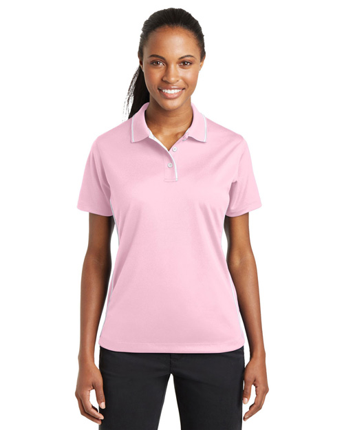 Sport-Tek L467 Ladies Dri-Mesh Polo with Tipped Collar and Piping.   Pink/White at bigntallapparel
