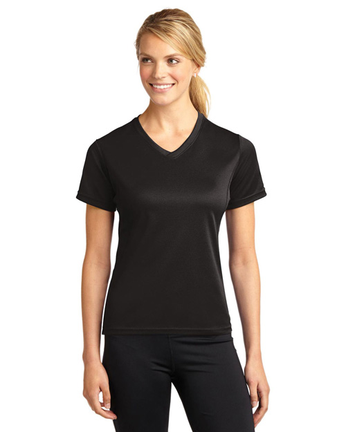 Sport-Tek L468V Women Dri-Mesh Womenv-Neck T-Shirt Black at bigntallapparel