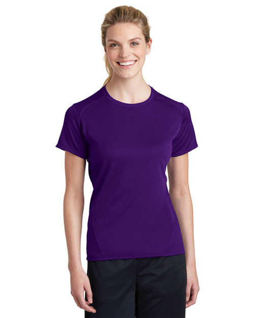 Sport-Tek L473 Women Dry Zone Raglan Accent T-Shirt Purple at bigntallapparel