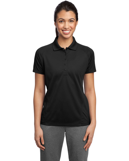 Sport-Tek L474 Ladies Dri-Mesh Pro Polo.  Black at bigntallapparel