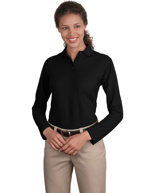 Port Authority L500LS Ladies Long Sleeve Silk Touch™ Polo.   Black at bigntallapparel