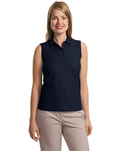 Port Authority L500SVLS Women Silk Touch Sleeveless Polo Navy at bigntallapparel