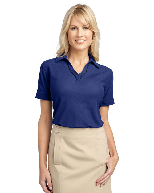 Port Authority L502 Ladies Silk Touch™ Piped Polo.  Mediterannean Blue/Black at bigntallapparel
