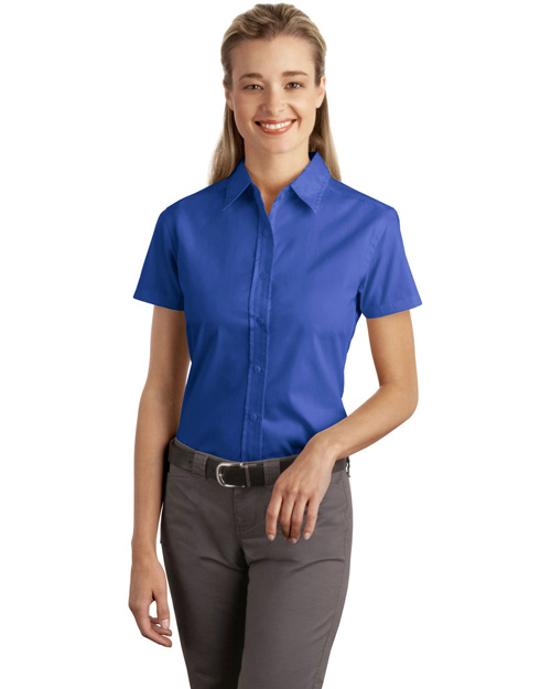 Port Authority L507 Ladies Short Sleeve Easy Care, Soil Resistant Shirt.   Faded Blue at bigntallapparel