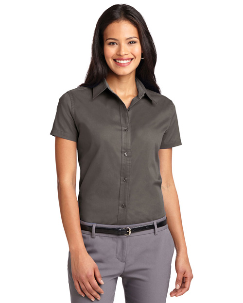 Port Authority L508 Women Short Sleeve Easy Care  Shirt Bark at bigntallapparel