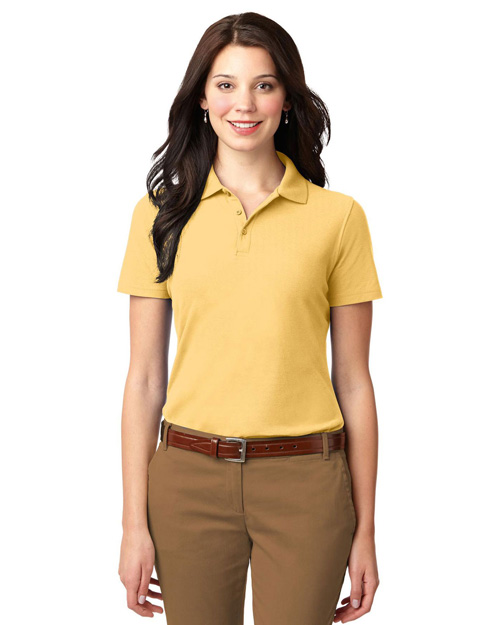 Port Authority L510 Ladies Stain-Resistant Polo.  Banana at bigntallapparel
