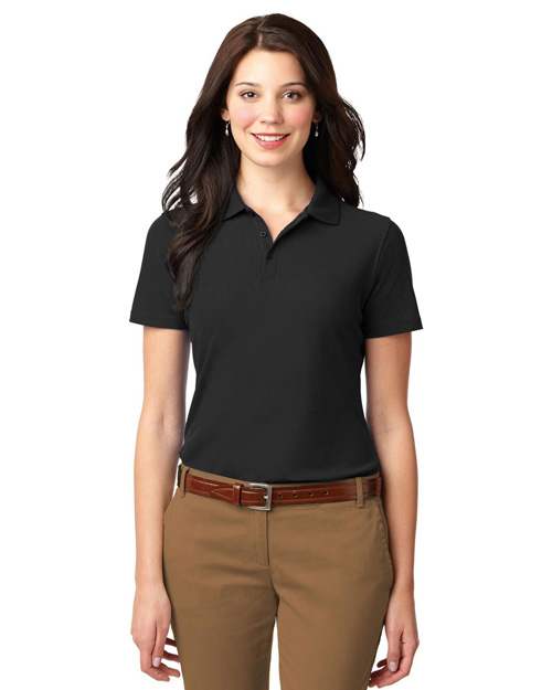 Port Authority L510 Women Stain-Resistant Polo Black at bigntallapparel