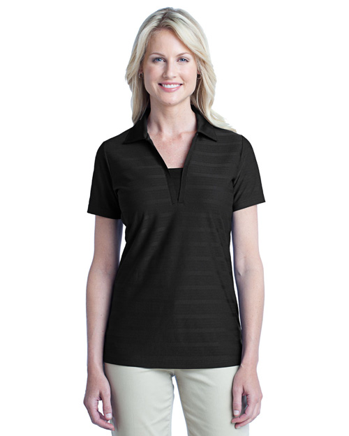 Port Authority L514 Ladies Horizontal Texture Polo.  Black at bigntallapparel