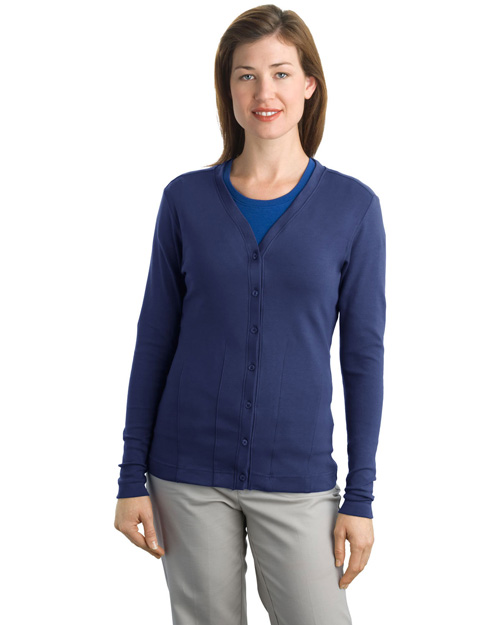Port Authority L515 Ladies Modern Stretch Cotton Cardigan.  Sapphire Blue at bigntallapparel