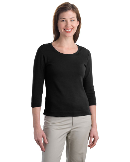 Port Authority L517 Women Modern Stretch Cotton 3/4-Sleeve Scoop Neck Shirt Black at bigntallapparel
